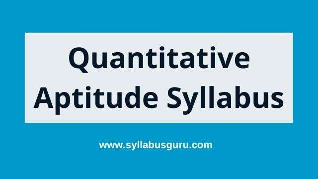 Quantitative aptitude syllabus