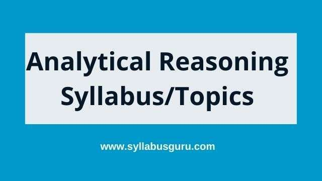 Syllabus of analytical reasoning
