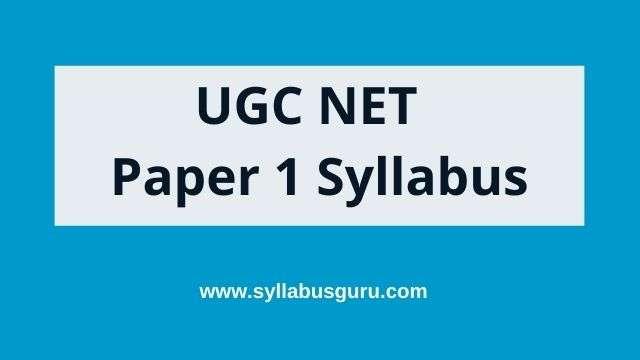 UGC net paper 1 syllabus