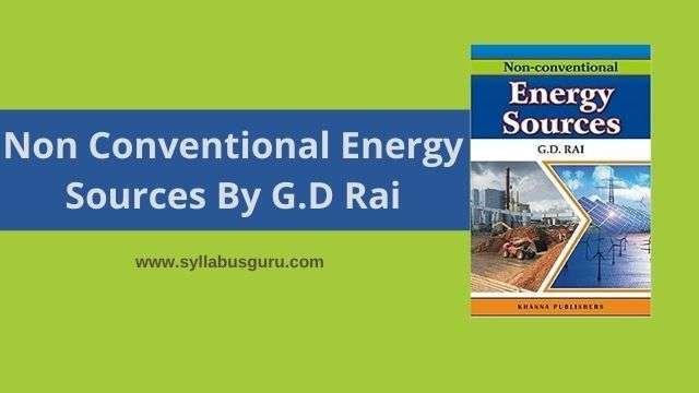 non conventional energy sources by gd rai pdf