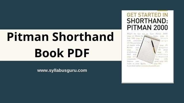pitman shorthand book pdf